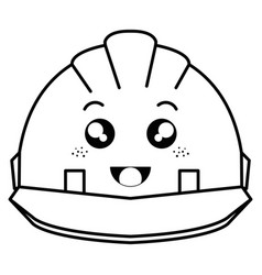 Helmet construction kawaii character vector