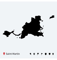 High detailed map saint-martin with navigation vector