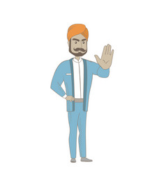 Hindu businessman showing palm hand vector