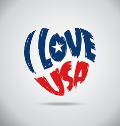I love USA Heart Logo vector image