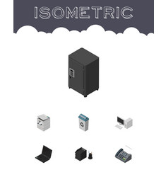 Isometric work set of desk file rack garbage vector