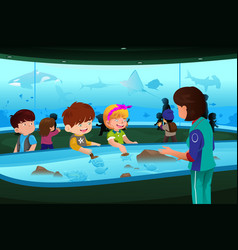 kids on field trip to aquarium vector image
