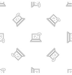 laptop chat pattern seamless vector image