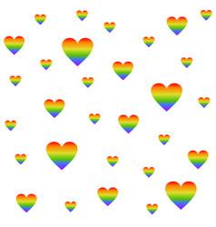 lgbt rainbow flag heart shape seamless pattern vector image