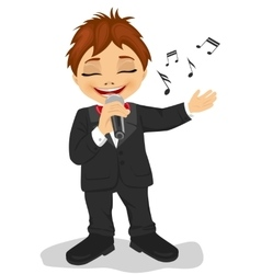 Little boy with microphone sings a song vector