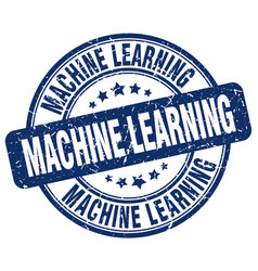 Machine learning blue grunge stamp vector