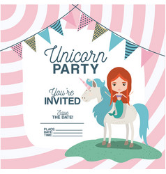 Mermaid with unicorn invitation card vector