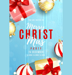 merry christmas party invitation poster vector image