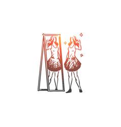 Mirror woman reflection clothing attractive vector