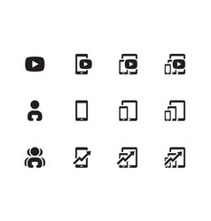 Mobile phone chart icons vector