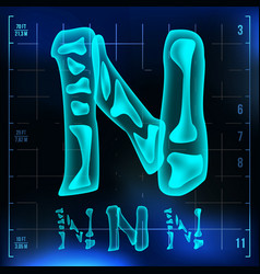 N letter capital digit roentgen x-ray vector