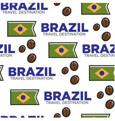 national flag and coffee beans brazilian symbols vector image