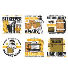 Natural organic honey beekeeping apiary farm vector