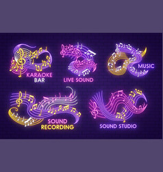 Neon music sign with note and treble clef on stave vector