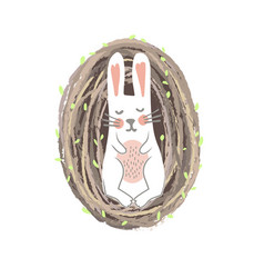 newborn easter bunny lying in willow nest vector image