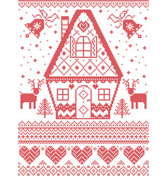 Nordic xmas ginger bread house with reindeer bell vector
