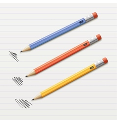 of 3 sharpened pencils vector image
