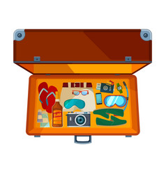 open suitcases of open suitcase with vector image