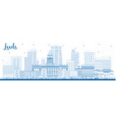 Outline leeds uk city skyline with blue buildings vector