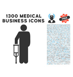 patient crutch icon with 1300 medical business vector image