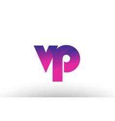 Pink gradient vp v p alphabet letter logo vector