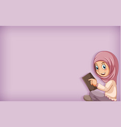Plain background with muslim girl reading book vector