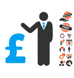 Pound banker icon with lovely bonus vector
