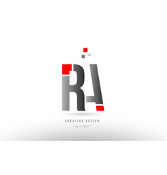Red grey alphabet letter ra r a logo combination vector