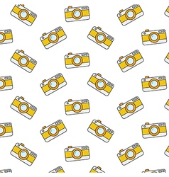 Retro camera pattern on white background vector image