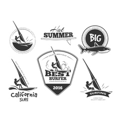 Retro surf emblems and labels set vector