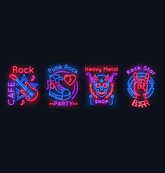 rock music neon sign metal band vintage poster vector image