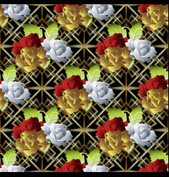 roses floral seamless pattern grid lattice vector image