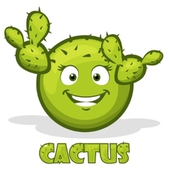 round smiley cactus and text in vector image