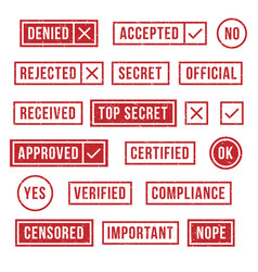 rubber stamps official compliance resolution vector image
