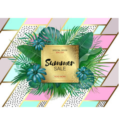 sale square summer sale tropical leaves frame on vector image