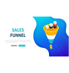 sales funnel statistics banner concept vector image