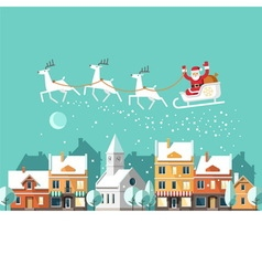Santa Claus on sleigh Urban winter landscape vector image