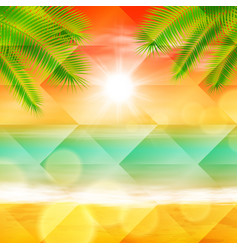 Sea sunset with palmtree leaves vector