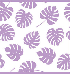 Seamless pattern of purple monstera leaves vector