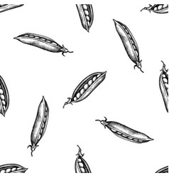Seamless pattern with black and white peas vector