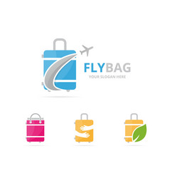 set of bag logo combination baggage and tourism vector image
