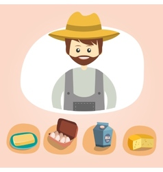 Set of colorful farm icons dairy produce vector image