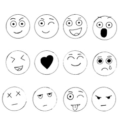 Set of hand drawn emoji isolated on white vector