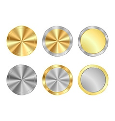 Set of round medals of gold and silver centric vector