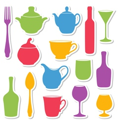 Set silhouettes dishes vector