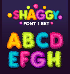 Shaggy font 1 set cartoon letters vector