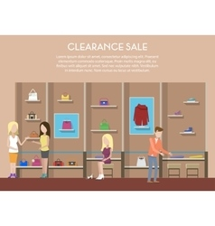 Shop with clothes or store interior clearance sale vector