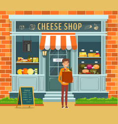 showcase of cheese shop and buyer with package vector image