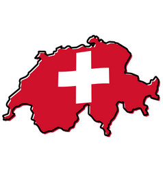 simplified map of switzerland outline with vector image