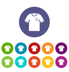 soccer shirt icons set flat vector image